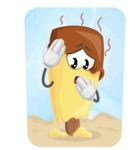 Sweet Ice Cream Cartoon Vector Character AKA Creamsy - Melting in Hot Summer Day Illustration