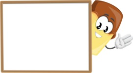 Sweet Ice Cream Cartoon Vector Character AKA Creamsy - Presenting on Blank Whiteboard Template