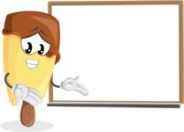 Sweet Ice Cream Cartoon Vector Character AKA Creamsy - Presenting on Whiteboard