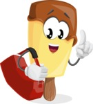 Sweet Ice Cream Cartoon Vector Character AKA Creamsy - Traveling with Suitcase