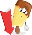 Sweet Ice Cream Cartoon Vector Character AKA Creamsy - With Arrow going Down