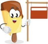Sweet Ice Cream Cartoon Vector Character AKA Creamsy - With Blank Real Estate Sign