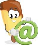 Sweet Ice Cream Cartoon Vector Character AKA Creamsy - With Email Sign - Web