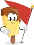Sweet Ice Cream Cartoon Vector Character AKA Creamsy - with Flag