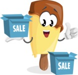 Sweet Ice Cream Cartoon Vector Character AKA Creamsy - With Sale Boxes