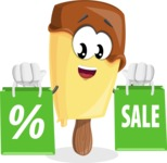 Sweet Ice Cream Cartoon Vector Character AKA Creamsy - With Shopping Bags