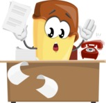Sweet Ice Cream Cartoon Vector Character AKA Creamsy - Working On Desk and Stressed from Work