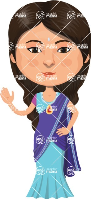 Indian People Vector Cartoon Graphics Maker - Indian Girl  with Blue Dress