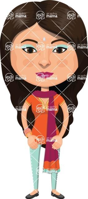 Indian People Vector Cartoon Graphics Maker - Modern Indian Girl