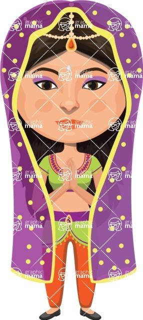 Indian People Vector Cartoon Graphics Maker - Indian Bride in Purple