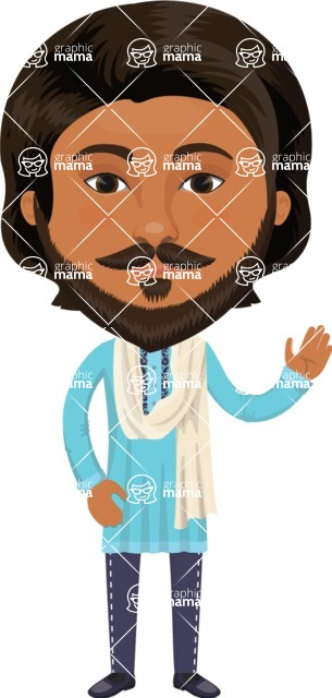 Indian People Vector Cartoon Graphics Maker - Indian Man with Scarf