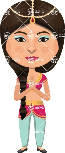 Indian People Vector Cartoon Graphics Maker - Indian Girl with Pants