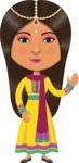 Indian People Vector Cartoon Graphics Maker - Indian Girl with Yellow Dress
