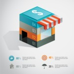 Infographic Template Collection - Shopping Infographic Template with 3D Store