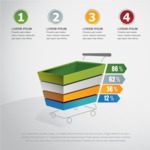Infographic Template Collection - Vector Infographic with 3D Shopping Cart