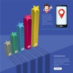 Infographic Template Collection - 3D Infographic Template with Smartphone and 3D Stars