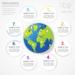 Infographic Template Collection - Globe with Steps Infographic Template