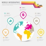 Infographic Template Collection - Infographic Template with Globe Map and Statistics