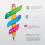 Infographic Templates Collection - Vector, Photoshop, PowerPoint, Google Slides - Modern Education Infographic Template with 3D Pencil