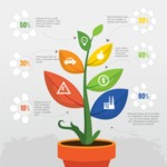 Infographic Templates Collection - Vector, Photoshop, PowerPoint, Google Slides - Vector Flower in Pot Infographic Template Design