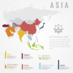 Infographic Templates Collection - Vector, Photoshop, PowerPoint, Google Slides - Asia Map Infographic Template