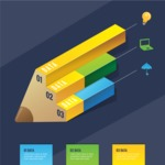 Infographic Templates Collection - Vector, Photoshop, PowerPoint, Google Slides - Isometric Infographic Template with 3D Pencil