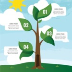 Infographic Templates Collection - Vector, Photoshop, PowerPoint, Google Slides - Abstract Tree Vector Infographic Template