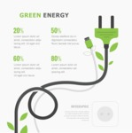 Infographic Templates Collection - Vector, Photoshop, PowerPoint, Google Slides - Vector Green Energy Infographic Template Concept