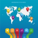 Infographic Templates Collection - Vector, Photoshop, PowerPoint, Google Slides - World Map Infographic Template