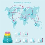 Infographic Templates Collection - Vector, Photoshop, PowerPoint, Google Slides - Connected World Map Infographic Template