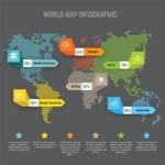 Infographic Templates Collection - Vector, Photoshop, PowerPoint, Google Slides - Map Infographic Template with All Continents