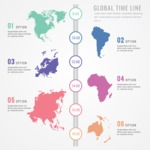 Infographic Templates Collection - Vector, Photoshop, PowerPoint, Google Slides - Timeline Infographic Template with International Country Maps