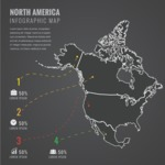 Infographic Templates Collection - Vector, Photoshop, PowerPoint, Google Slides - North America Map Infographic Template with Countries