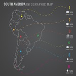 Infographic Templates Collection - Vector, Photoshop, PowerPoint, Google Slides - South America Map Infographic Template with Countries