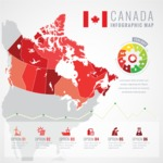 Infographic Templates Collection - Vector, Photoshop, PowerPoint, Google Slides - Canada Map Infographic Template