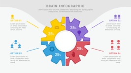 Infographic Templates Collection - Vector, Photoshop, PowerPoint, Google Slides - 4 Options Cogwheel Infographic Template