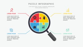 Infographic Templates Collection - Vector, Photoshop, PowerPoint, Google Slides - Puzzle Infographic Template with Magnifier