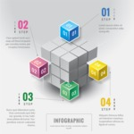 Infographic Templates Collection - Vector, Photoshop, PowerPoint, Google Slides - Colorful Infographic Template with 3D Cubes