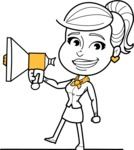 Pretty Linear Girl Cartoon Vector Character AKA Carry - Loudspeaker