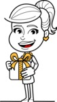 Pretty Linear Girl Cartoon Vector Character AKA Carry - Gift