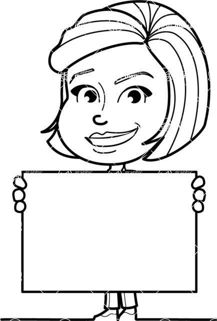 Cute Black And White Woman Cartoon Vector Character Aka Debora