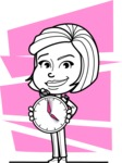 Cute Black and White Woman Cartoon Vector Character AKA Debora - Shape 11