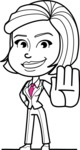 Cute Black and White Woman Cartoon Vector Character AKA Debora - Stop