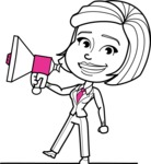 Cute Black and White Woman Cartoon Vector Character AKA Debora - Loudspeaker