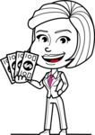 Cute Black and White Woman Cartoon Vector Character AKA Debora - Show me the Money