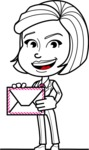 Cute Black and White Woman Cartoon Vector Character AKA Debora - Letter