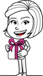 Cute Black and White Woman Cartoon Vector Character AKA Debora - Gift