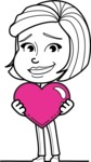 Cute Black and White Woman Cartoon Vector Character AKA Debora - Love