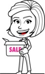 Cute Black and White Woman Cartoon Vector Character AKA Debora - Sale