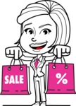 Cute Black and White Woman Cartoon Vector Character AKA Debora - Sale2